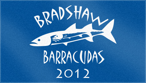 Custom woven swim team towels for bradshaw barracudas