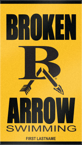 Broken Arrow's Custom Woven Swim Team towel, boldly features their logo, accented by personalization. This custom swim team towel was created with two color choices from Custom Woven Towels color palette.
