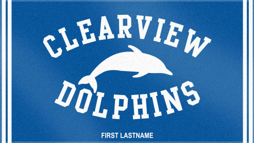 These are the Clearview Dolphins' custom woven swim team towels! These custom swim team towels look great!!