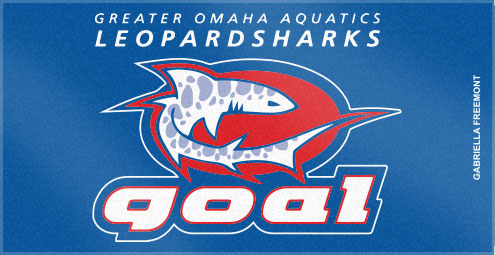These custom woven swim team towels were created utilizing Custom Woven Towels' custom color options. Gotta watch out for those Greater Omaha Aquatic Leopardsharks!