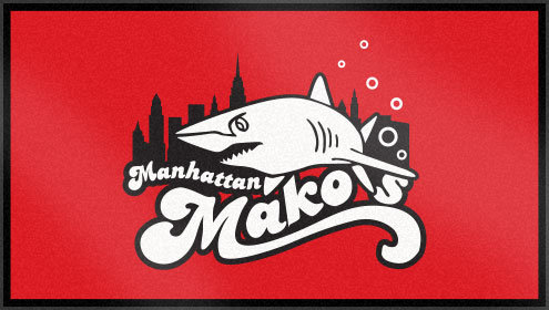 The Manhattan Makos' custom swim team towel features three of Custom Woven Towels color options. Which colors will you choose for you custom woven swim team towel?!