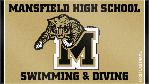 Custom Woven Towels offers several color options for our custom woven swim team towels! Mansfield High School chose very regal colors for their custom swim team towel.
