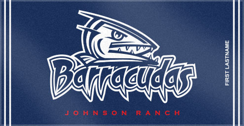 Johnson Ranch Barracuda chose Custom Woven Towels to create their unique custom swim team towels. These custom woven swim team towels make fantastic end of season gifts to swim team members!