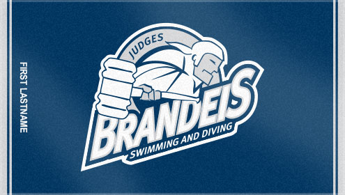 Look at this cool custom woven swim team towel! This custom woven swim team towel was created for Brandeis University. The swim team towel has a great logo accented by personalization for each team member.